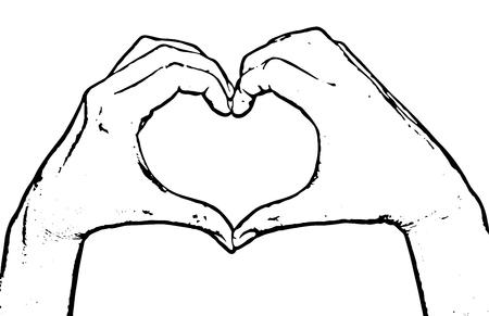 corazon en la mano: Manos femeninas que hacen la forma del corazón. Símbolo de los amantes. gráfico vectorial blanco y negro. Emociones positivas. Día de San Valentín.