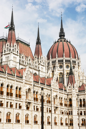 parliament building: Hungarian parliament building, also known as the Parliament of Budapest, Hungary. House of the nation. Cultural heritage. Travel destination. Architectural theme. Detail scene. Lajos Kossuth square. Stock Photo