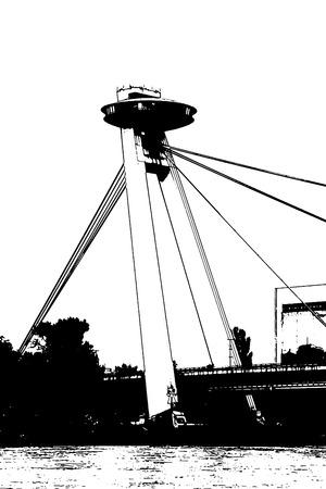 vertical composition: SNP bridge in Bratislava, capital city of Slovak republic. Travel destination. Architectural theme. Black and white vector graphic. Symbol of town. Vertical composition.