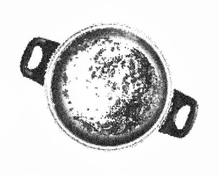 unwashed: Dirty cooking pot. Black and white vector graphic. Kitchen equipment. Symbolic sketch.