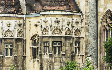 famous place: Beautiful Vajdahunyad castle in Budapest, Hungary. Cultural heritage. Travel destination. Detail of architecture. Famous place. Tourism theme. Editorial