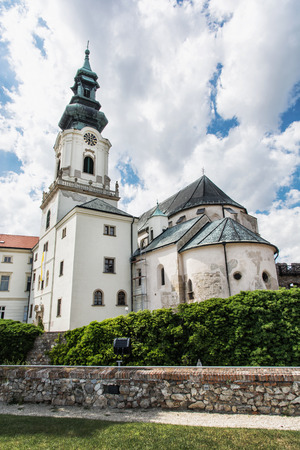 vertical composition: Ancient castle in Nitra, Slovak republic. Cultural heritage. Architectural theme. Place for worship. Vertical composition. Editorial