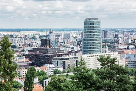 pyramid shape: Urban scene in Bratislava, capital of Slovak republic. Slovak radio building. Architectural theme. Cultural heritage. Inverted pyramid shape. Travel destination. Editorial
