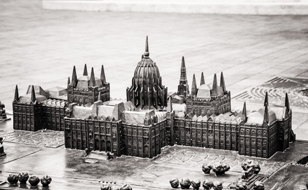 parliament building: Hungarian parliament building in Budapest, Hungary - miniature artistic model. House of the nation. Black and white photo. Travel destination. Architectural theme.