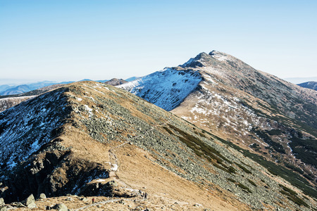 mountainy: Footpath leading up the peak Dumbier, Low Tatras, Slovak republic. Hiking theme. Beautiful place. Mountains scene. Stock Photo