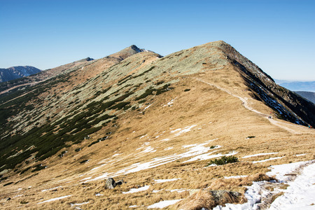 Footpath leading up the peak Chopok, Low Tatras, Slovak republic. Hiking theme. Beautiful place. Mountains scene.