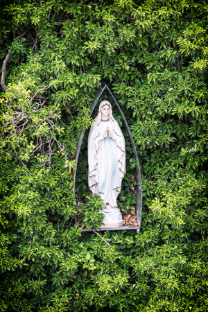 vertical composition: Virgin Mary statue and greenery. Religious object. Symbol of christianity. Vertical composition.