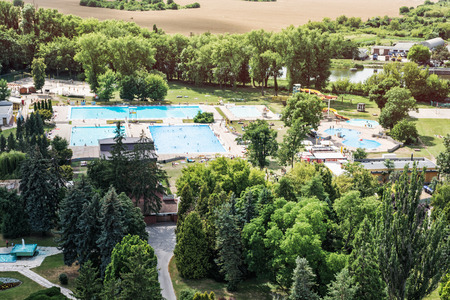 municipal court: Municipal swimming pool in Nitra city, Slovak republic. Leisure activities. Summer vacation. Pools and greenery. Stock Photo