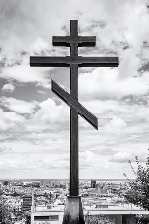 military cemetery: Big christian cross in Slavin, memorial monument and military cemetery in Bratislava, the capital of Slovak republic. Black and white photo. Religious object. Cultural heritage. Architectural theme.