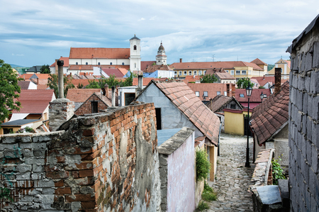 old houses: Old houses, streets and churches in Skalica town, Slovak republic. Travel destination. Architectural theme.