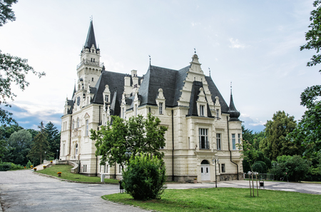 slovak republic: Beautiful Budmerice castle with english park in Slovak republic. Architectural theme. Travel destination. Cultural heritage. Beautiful place. Editorial