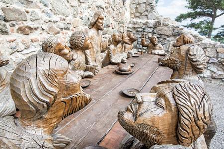 religious art: Wooden sculpture of Last supper in Nitra castle, Slovak republic. Christian symbol. Architectural element. Religious art. Editorial