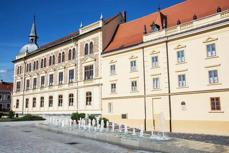 schoolhouse: Old historical building of Vajda Janos Gymnasium, Keszthely, Hungary. Architectural theme. Travel destination. School-house scene.