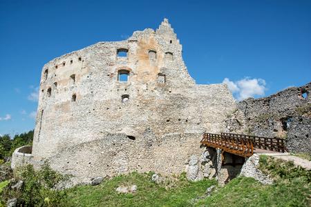 mystic place: Ruins of Topolcany castle, Slovak republic, central Europe. Ancient architecture. Beautiful place. Travel destination.