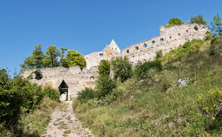central europe: Access road to the ruin castle of Topolcany, Slovak republic, central Europe. Architectural theme. Beautiful place. Travel destination.