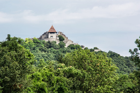 visegrad: Ruin castle of Visegrad, Hungary. Ancient architecture and greenery. Travel destination. Cultural heritage.