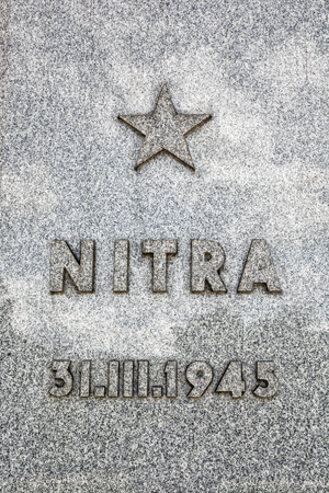 monument historical monument: Memorial plaque of exemption Nitra city, memorial monument Slavin, Bratislava. Cultural heritage. Historical object. Vertical composition.