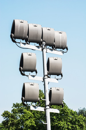 off ramp: Stadium lighting scene. Vertical composition. Electrical equipment.