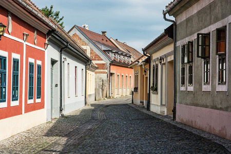 old  buildings: Beautiful street with old buildings in Esztergom, Hungary. Cultural heritage. Architectural theme. Urban scene. Travel destination.