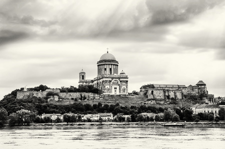 hungarian: Beautiful basilica in Esztergom, Hungary. Cultural heritage. Travel destination. Black and white photo. Largest building. Place of worship. Religious architecture.