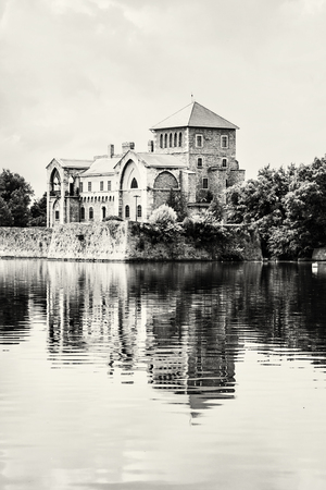 vertical composition: Castle in Tata, Hungary. Travel destination. Architectural theme. Black and white photo. Beautiful place. Fortress is reflected in the lake. Vertical composition.