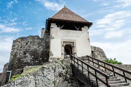 Ruin castle of Visegrad, Hungary. Ancient architecture with stairs. Travel destination. Cultural heritage. Stock Photo