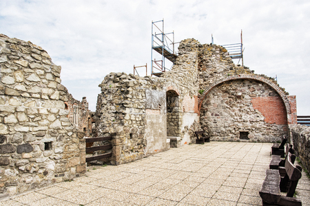 Ruin castle of Visegrad, Hungary. Ancient architecture. Travel destination. Cultural heritage. Beautiful place.