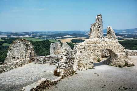 Ruins of the Cachtice castle, Slovak republic, central Europe. Architectural theme. Seat of bloody countess. Travel destination.
