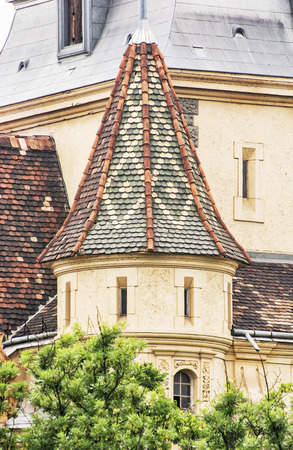 famous place: Detail photo of beautiful Vajdahunyad castle in Budapest, Hungary. Cultural heritage. Travel destination. Detail of architecture. Famous place. Tourism theme.