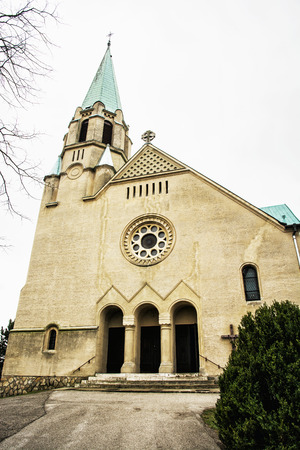 vertical composition: Roman catholic church of saint Stephen king, Nove Sady village, Slovak republic. Vertical composition. Religious architecture.