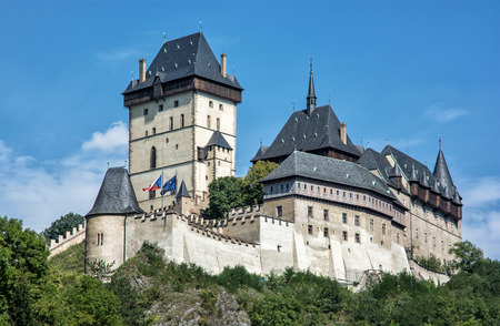 gothic castle: Karlstejn is a large gothic castle founded 1348 by Charles IV in Czech republic. Ancient architecture. Travel destination. Beautiful place.