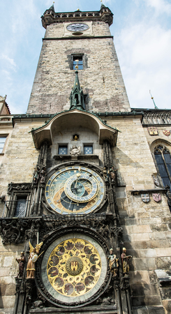old town hall: Old town hall with astronomical clock in Prague. Cultural heritage. Architectural theme. Vertical composition. Travel destination.