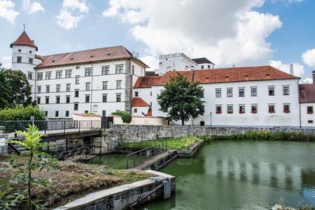 gothic castle: Gothic castle of Jindrichuv Hradec with water reservoir, Czech republic. Architectural scene. Travel destination. Beautiful place.