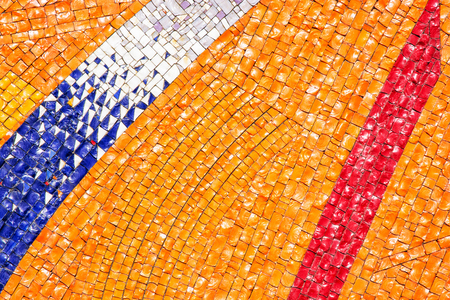 Detail of the futuristic colorful mosaic. Architectural element. Vibrant colors. Stock Photo