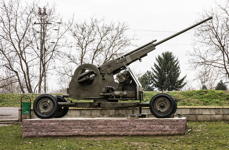20th century: Anti-aircraft machine gun of the World war II. Biggest war campaign of 20th century. Exposed artillery. Weapons theme.