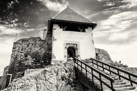 visegrad: Ruin castle of Visegrad, Hungary. Ancient architecture with stairs. Travel destination. Cultural heritage. Black and white photo. Stock Photo