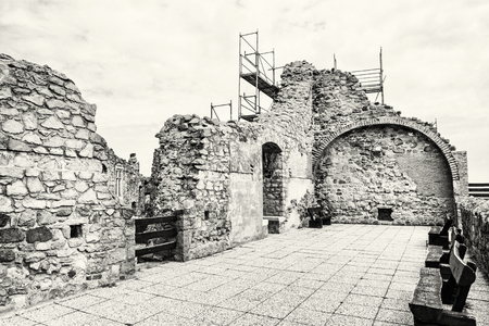 visegrad: Ruin castle of Visegrad, Hungary. Ancient architecture. Travel destination. Cultural heritage. Beautiful place. Black and white photo.
