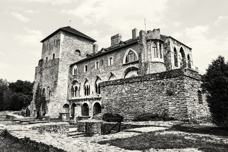 Beautiful castle in Tata, Hungary. Travel destination. Architectural theme. Black and white photo. Historic object.