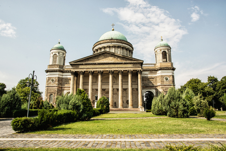 frontage: Frontage of beautiful basilica in Esztergom, Hungary. Cultural heritage. Travel destination. Largest building. Religious architecture. Place of worship.