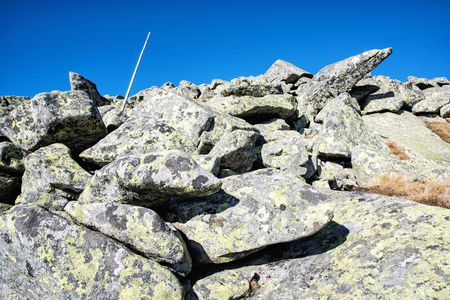 Big stones in Chopok peak, Low Tatras, Slovak republic. Hiking theme. Beauty in nature. Stock Photo