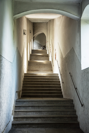 Old Stoned Interior Stairs. Architectural Element. Vertical Composition.  Stock Photo   63761937