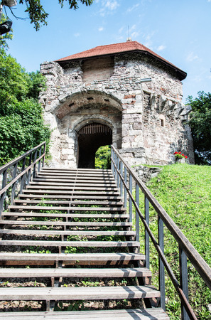 Ruin castle of Visegrad, Hungary. Ancient architecture with stairs. Travel destination. Cultural heritage. Vertical composition. Editorial