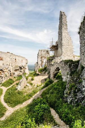 central europe: Ruins of Plavecky castle, Slovak republic, central Europe. Cultural heritage. Travel destination. Vertical composition.