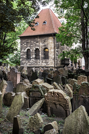 Jewish cemetery in Prague, Czech republic. Historical object. Memorial place. Many graves. Vertical composition.