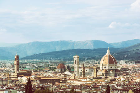Florence is the capital city of the Italian region of Tuscany and of the province of Florence. Retro photo filter. Travel destination. Beautiful place. Stock Photo