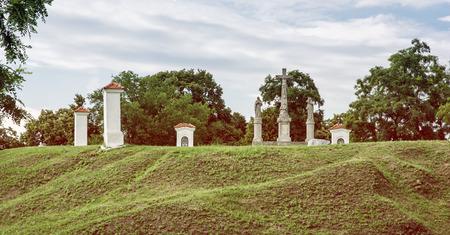 calvary: Calvary in Skalica city, Slovak republic. Religious place. Cultural heritage. Retro photo filter. Travel destination.