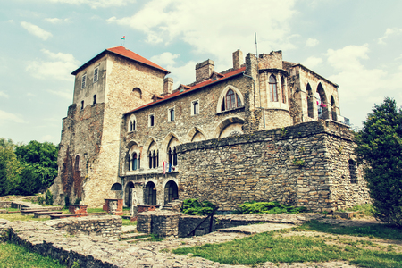 Beautiful castle in Tata, Hungary. Travel destination. Architectural theme. Beautiful place. Retro photo filter. Historic object. Redakční