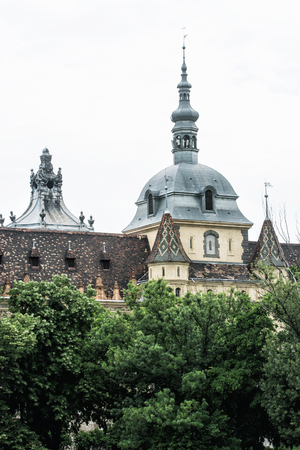 famous place: Close up photo of Vajdahunyad castle in Budapest, Hungary. Cultural heritage. Architectural scene. Famous place. Tourism theme. Travel destination.