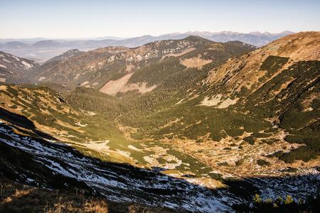 Valley in the Low Tatras mountains, Slovak republic. Hiking theme. Mountains scene.