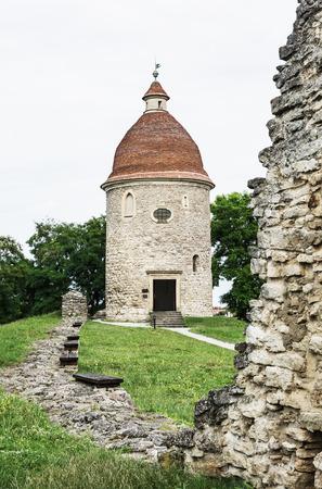 vertical composition: Romanesque rotunda in Skalica, Slovak republic. Architectural theme. Travel destination. Cultural heritage. Vertical composition.